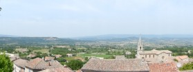 Panorama of the view across the Petit Luberon hills from Bonnieux