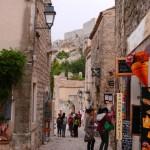 The narrow village streets below the citadel